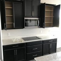 Timberlake Tahoe espresso cabinets, microwave bump out, microwave bump up |  Modern bathrooms interior, Bathroom design small, Small bathroom remodel  designs