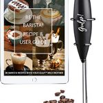 gulp Milk Frother Battery Operated Electric Foam Maker Mixer Hand Blender  for Coffee with Stainless Steel Whisk and Stand, 30 Barista Recipes ebook  (Black) - Buyers Blog