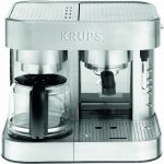 KRUPS XP604050 Die Cast Pump Espresso Machine and Coffee Maker Combination  with Milk Frothing Nozzle, 10-cup, Silver