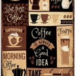 Coffee Cappuccino Espresso Latte Bar Cafe & Restaurant Medium Metal Steel  Sign Advertising Collectables Home & Kitchen Advertising