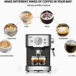 Kitchen & Dining Latte and Mocha Espresso Machines 15 Bar Coffee Machine  with Milk Frother Wand for Espresso 1100W Cappuccino 1.5L large Removable  Water Tank and Double Temperature Control System,Blcak Home &