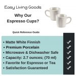 Set of 2 Espresso Cups by Easy Living Goods 2.3 Ounce Matte White Porcelain  absolutebeauty.co.za