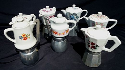 Seven old porcelain and aluminium coffee pots, for - Catawiki