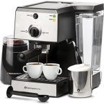 EspressoWorks 7 Pc All-In-One Espresso Machine & Cappuccino Maker Barista  Bundle Set w/ Built-In Steamer & Frother (Inc: Coffee Bean Grinder, Milk  Frothing Cup, Spoon/Tamper & 2 Cups), Stainless Steel (Silver) -