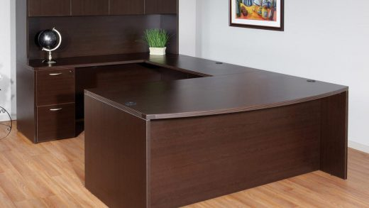 Laminate Bow Front U-Shape Desk with Hutch - Office Furniture Houston, The  Woodlands   Cubicles, Desks, Chairs   WorkSpace Resource, Texas