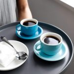 Set of 4 Navy Sweese 404.103 Porcelain Stackable Espresso Cups with Saucers  and Metal Stand 2.5 Ounce Dining & Entertaining Home & Kitchen