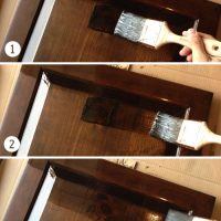 Using Polyshades To Darken Our Wood Cabinets | Young House Love