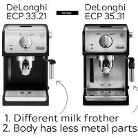 Delonghi ECP 31.21, 33.21, 35.31 review. The right balance of the price,  the metal body and the quality + unique milk foam regulator. |  101Coffeemachines.Info