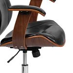 Amazon.com: Flash Furniture Mid-Back Black LeatherSoft Executive Ergonomic  Wood Swivel Office Chair with Arms: Furniture & Decor