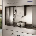Wolf built-in coffee system with a matching cup drawer: espresso,  cappuccino, latte, macchiato