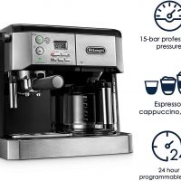 BCO430 Combination Pump Espresso and 10-Cup Drip Coffee Machine with  Frothing Wand, Silver and Black