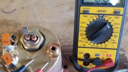 Test heating element with multimeter