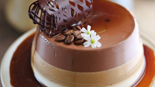 Ombre Coffee Chocolate Panna Cotta...with a deep coffee sauce -