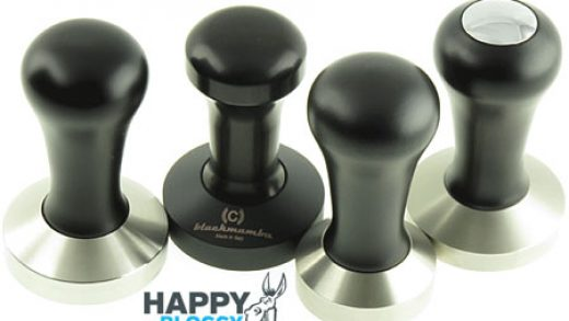 Coffee tampers FAQ information images, a barista tool overview.