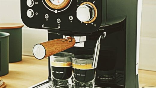 Where to Buy Unique Espresso Maker With Wooden Accents