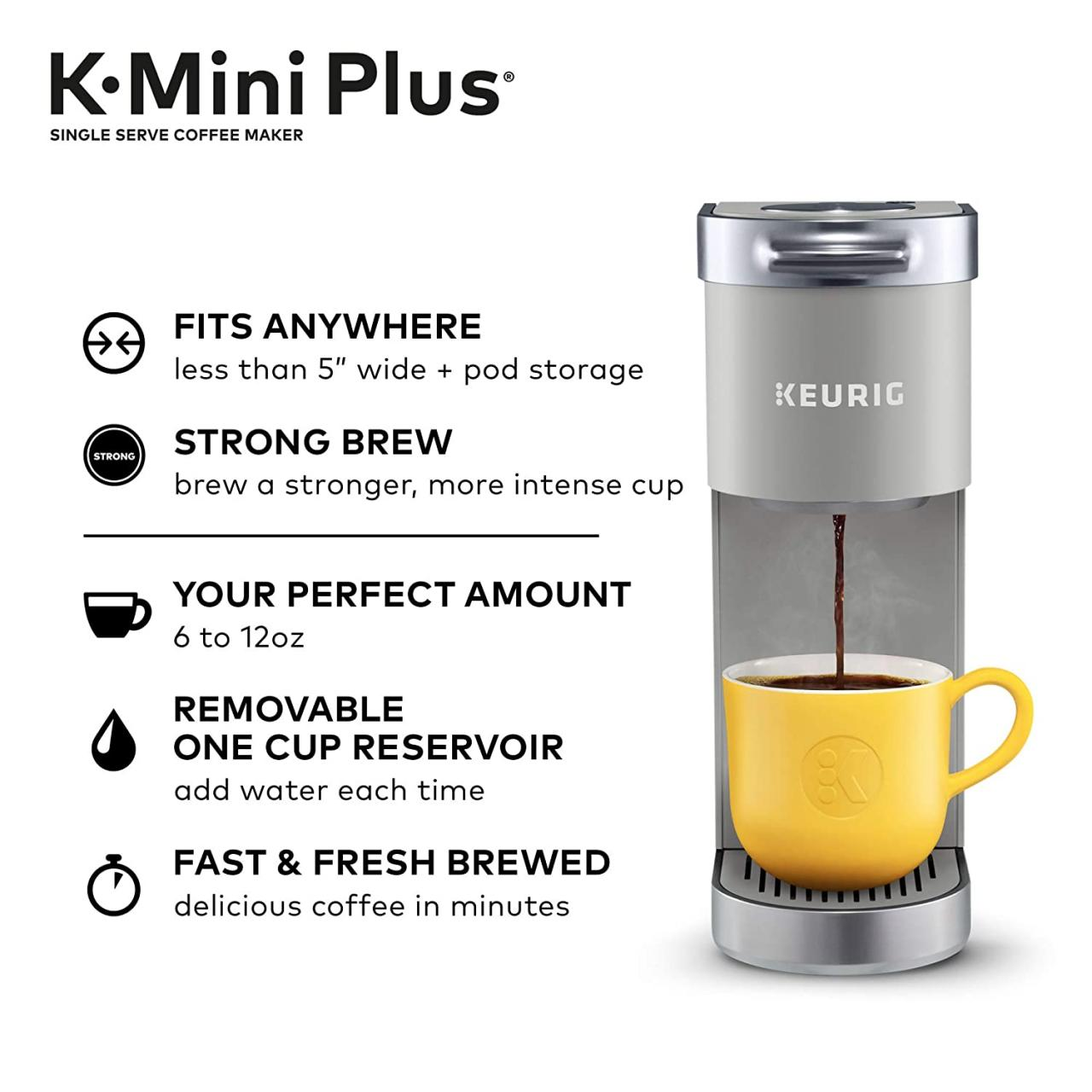 floor price Keurig K-Mini Plus Single Serve K-Cup Pod Coffee Maker, with 6  to 12oz Brew Size, Stores up to 9 K-Cup Pods, Travel Mug Friendly: Kitchen  & Dining high-quality merchandise and